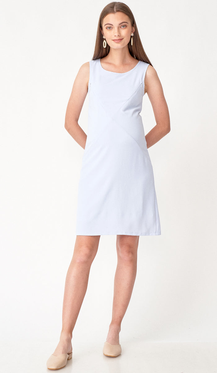 SALE - CARLA ASYMMETRICAL ZIP DRESS SKY BLUE