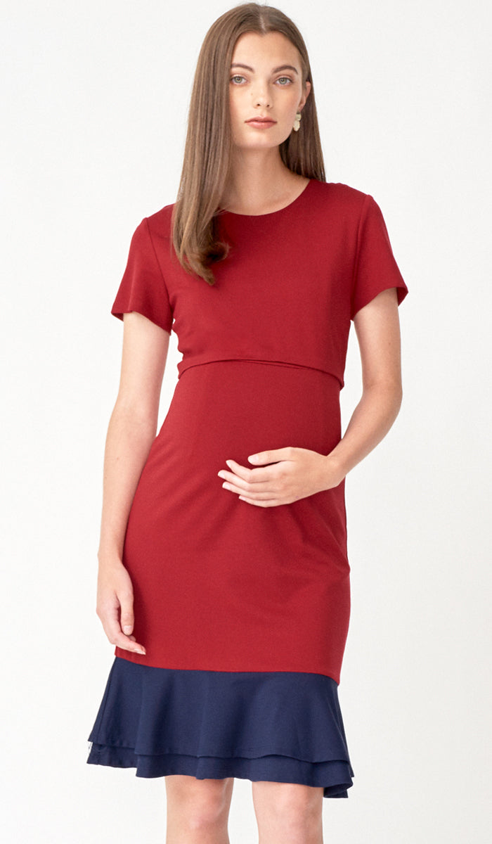 SALE - KACY COLORBLOCK FLOUNCE NURSING DRESS RED