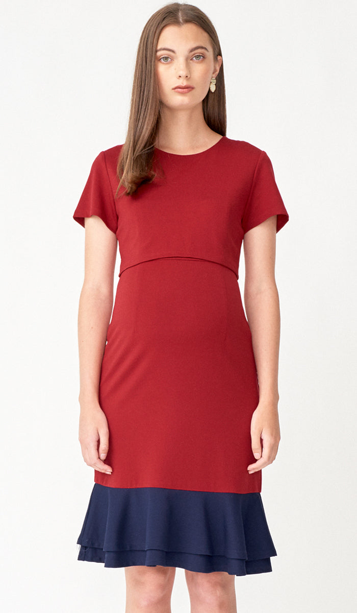 KACY COLORBLOCK FLOUNCE NURSING DRESS RED