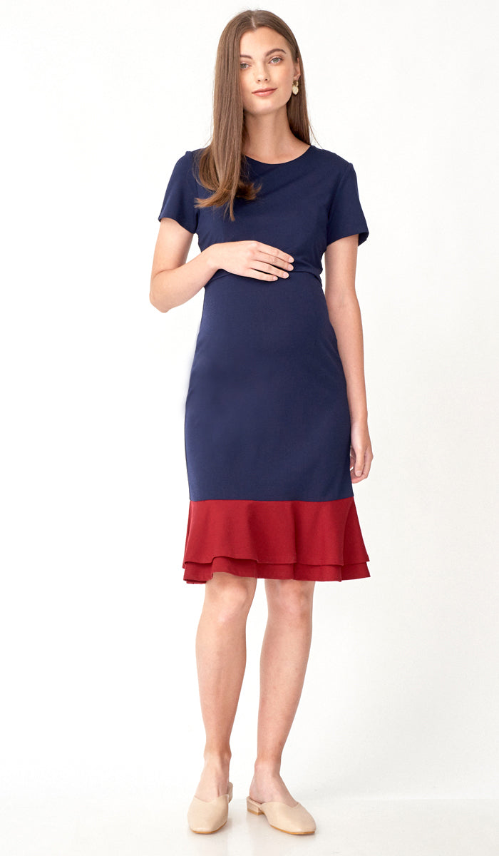 KACY COLORBLOCK FLOUNCE NURSING DRESS NAVY