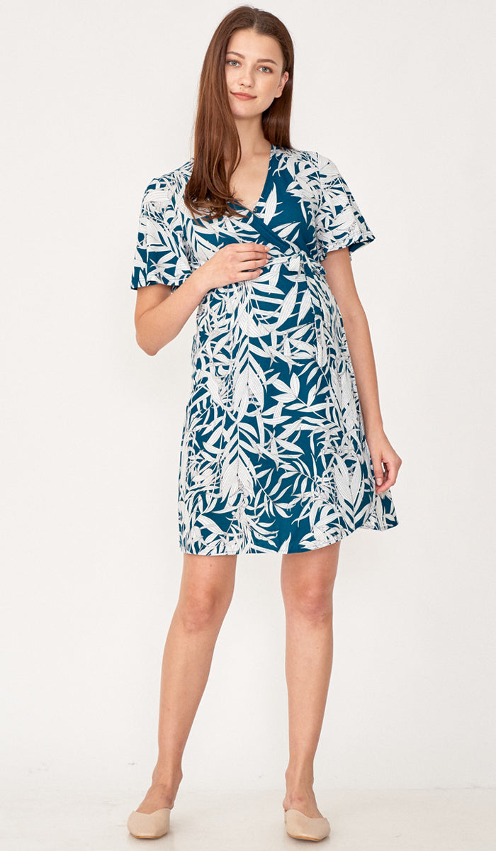 KYOTO LEAVES WRAP DRESS