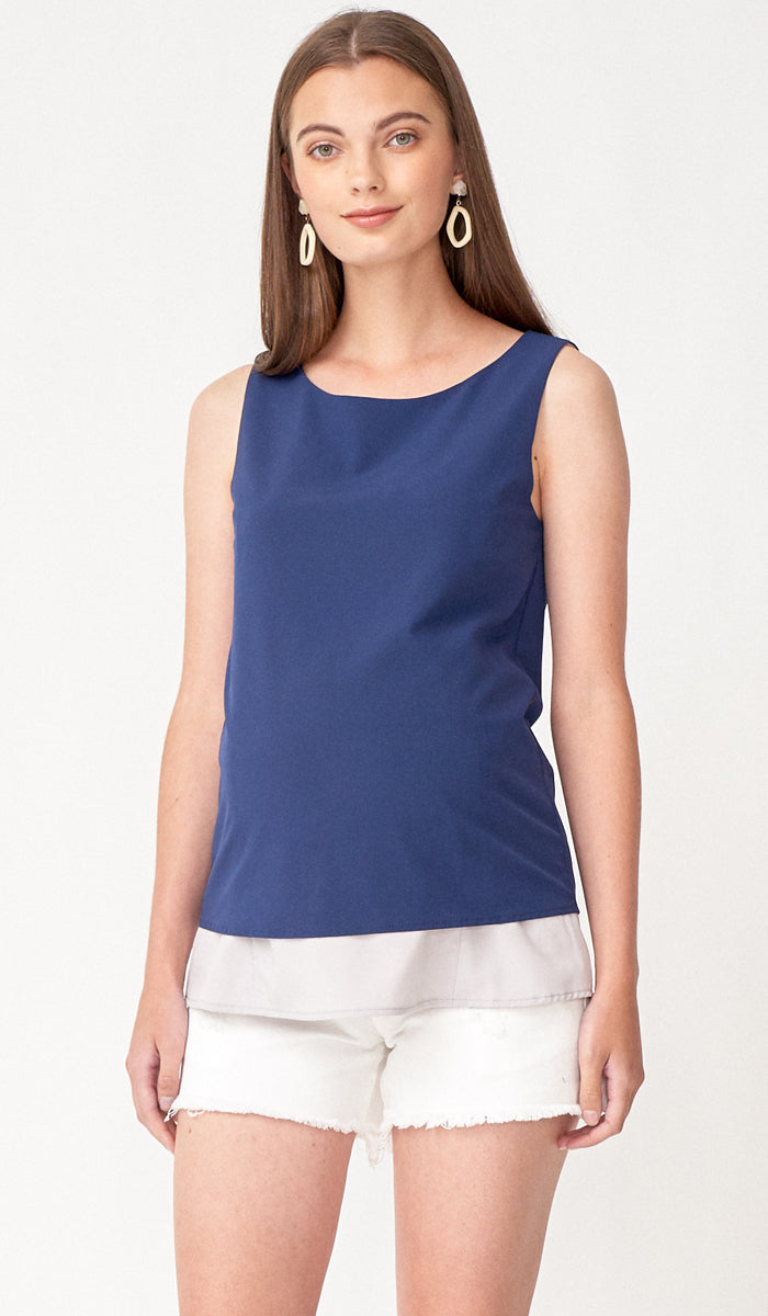 SALE - LENA CONTRAST LAYER TOP NAVY