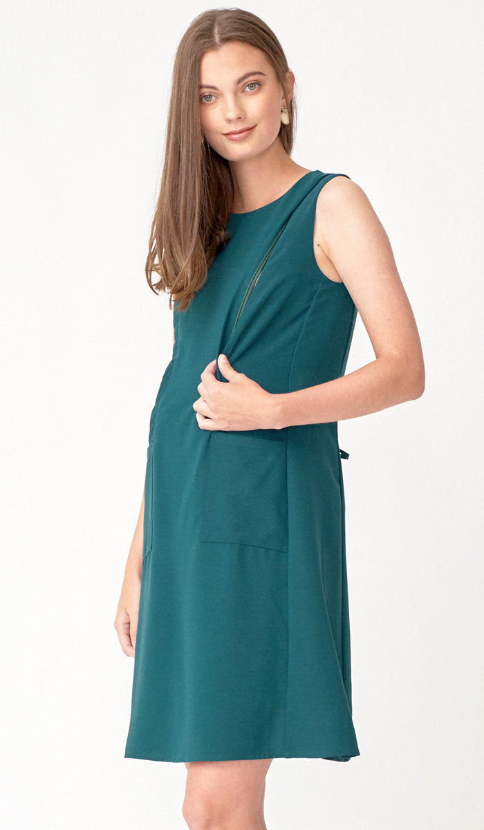 SALE - LUCIA POCKET NURSING DRESS EMERALD