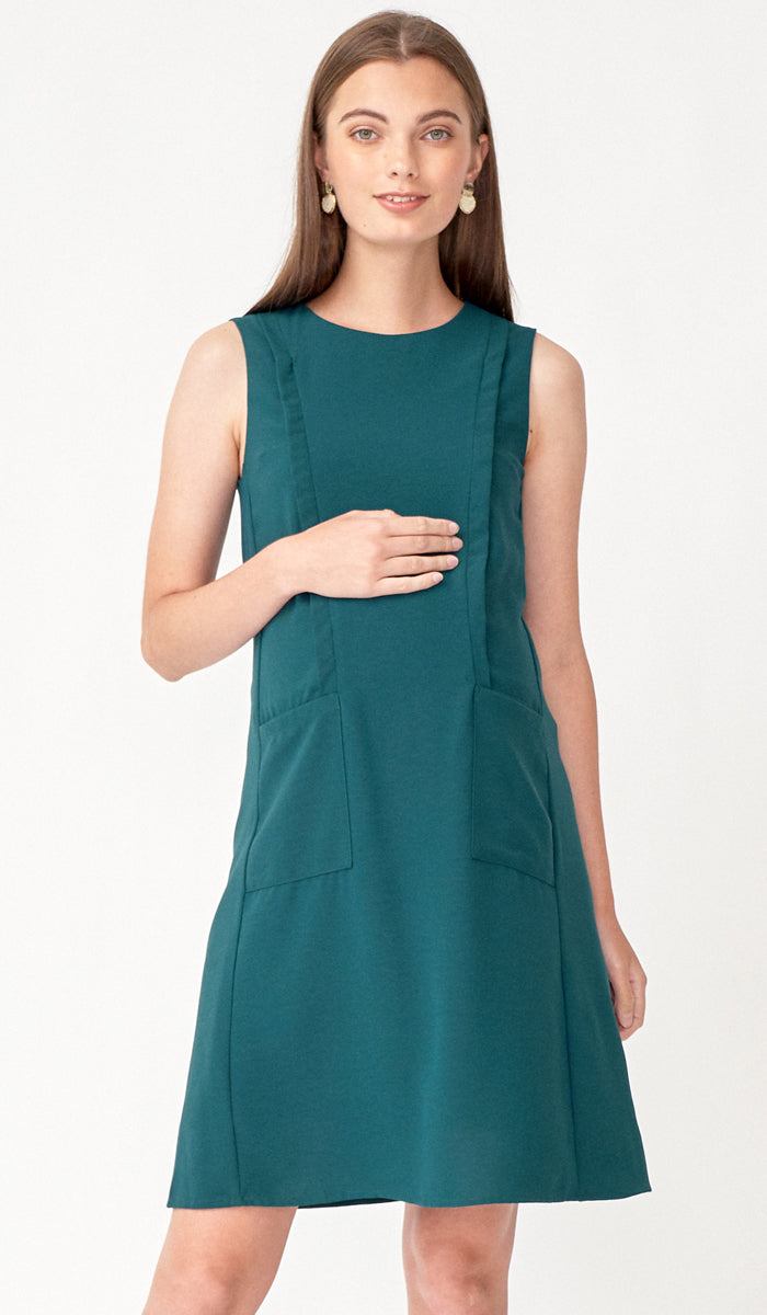 LUCIA POCKET NURSING DRESS EMERALD