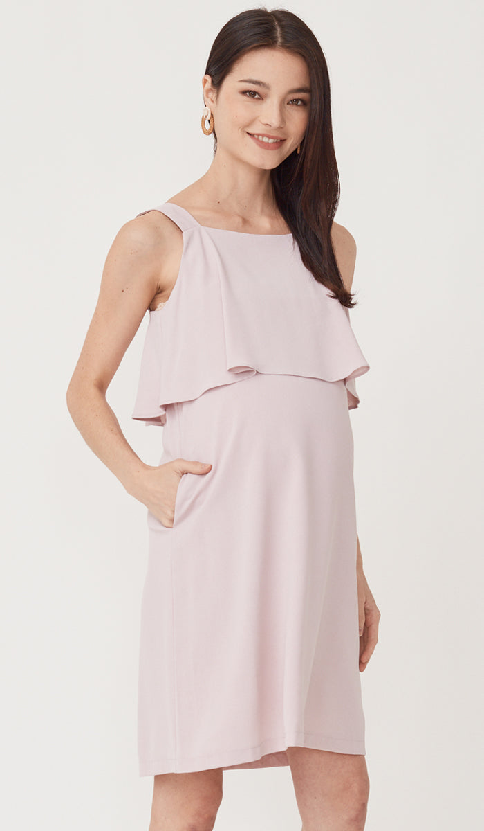 SALE - LUCINDA LAYERED NURSING DRESS PINK
