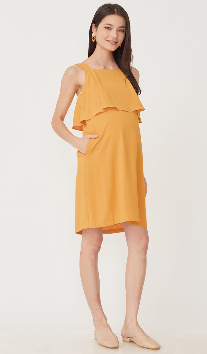 LUCINDA LAYERED NURSING DRESS MARIGOLD