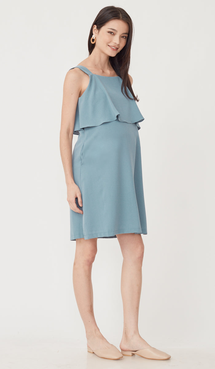 SALE - LUCINDA LAYERED NURSING DRESS BLUE