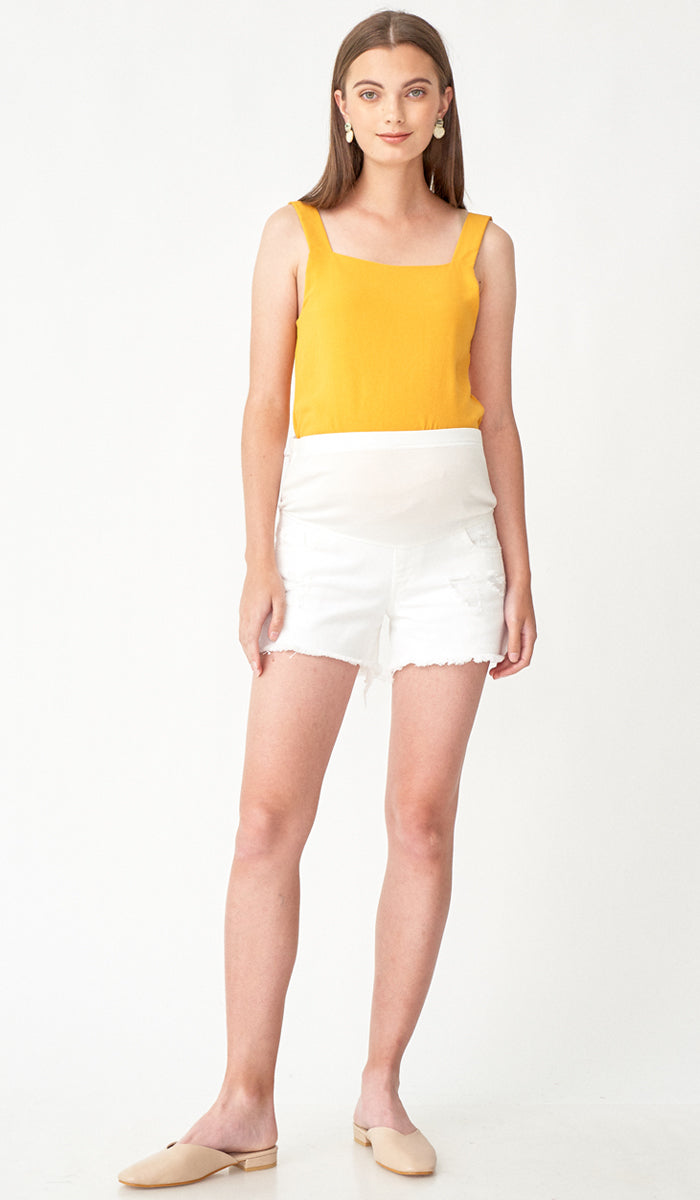 NADIA DENIM MATERNITY SHORTS WHITE