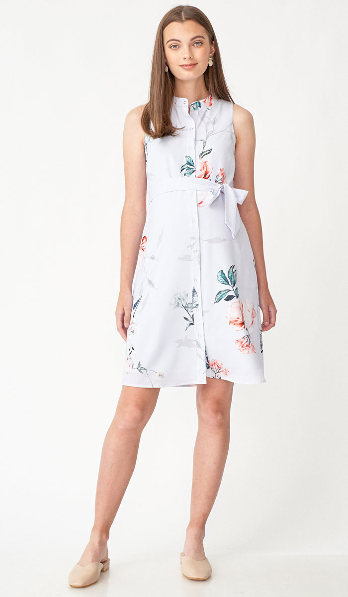 ROSA FLORAL SHIRT DRESS W SASH