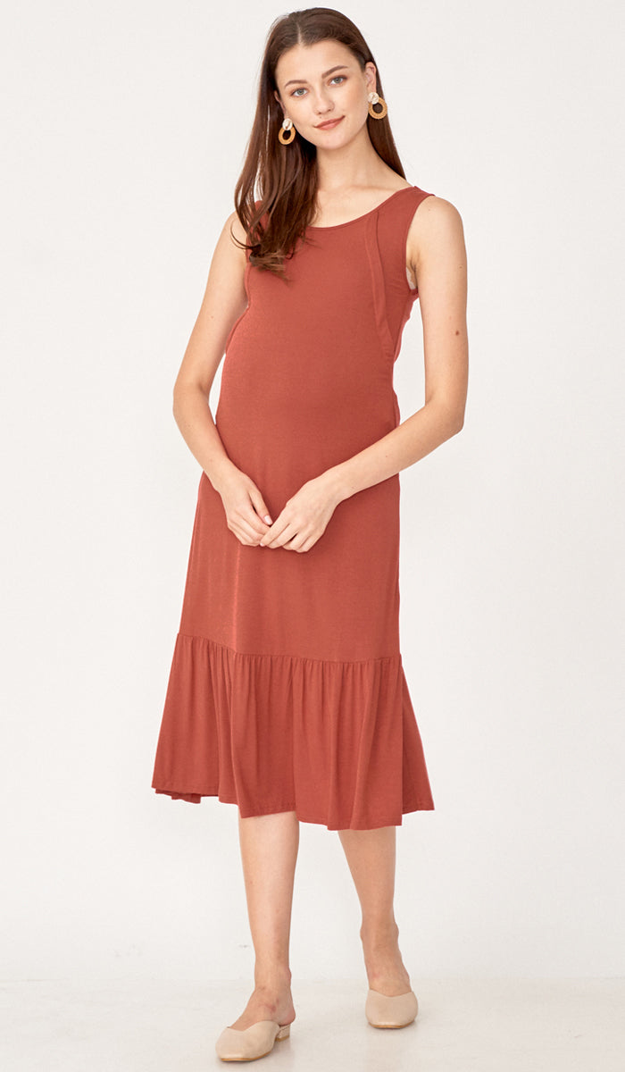 TIA NURSING MIDI DRESS PUCE
