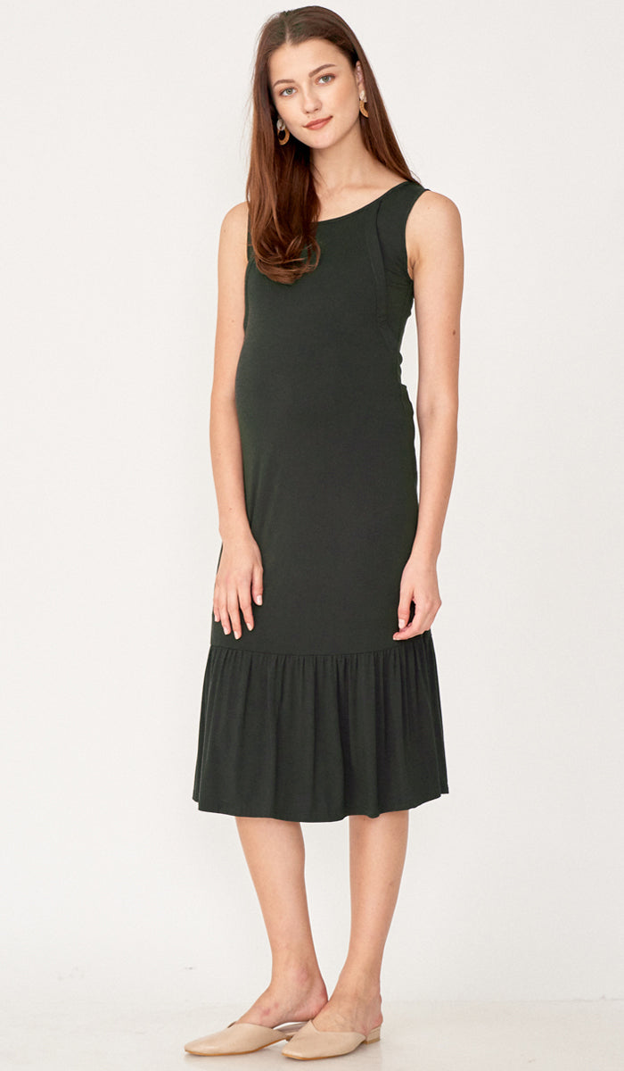 TIA NURSING MIDI DRESS OLIVE