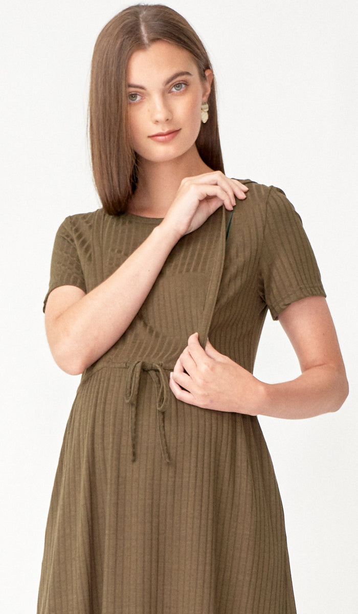 VANYA DRAWSTRING NURSING DRESS OLIVE GREEN