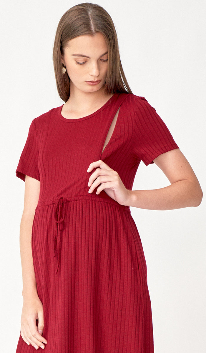 VANYA DRAWSTRING NURSING DRESS CURRANT RED
