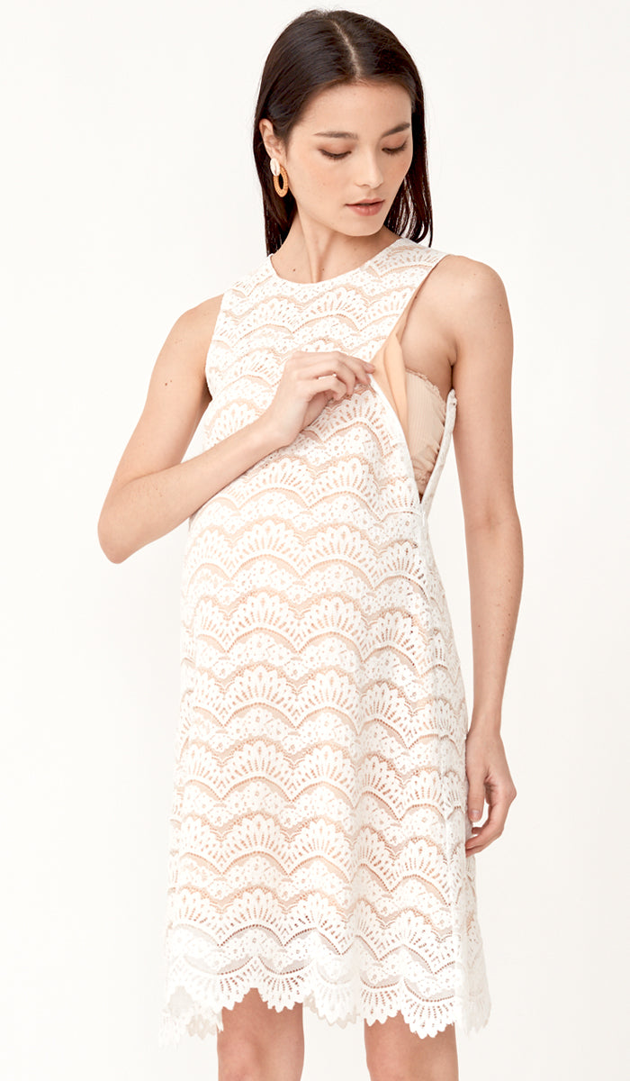 ADRIENNE LACE NURSING DRESS WHITE