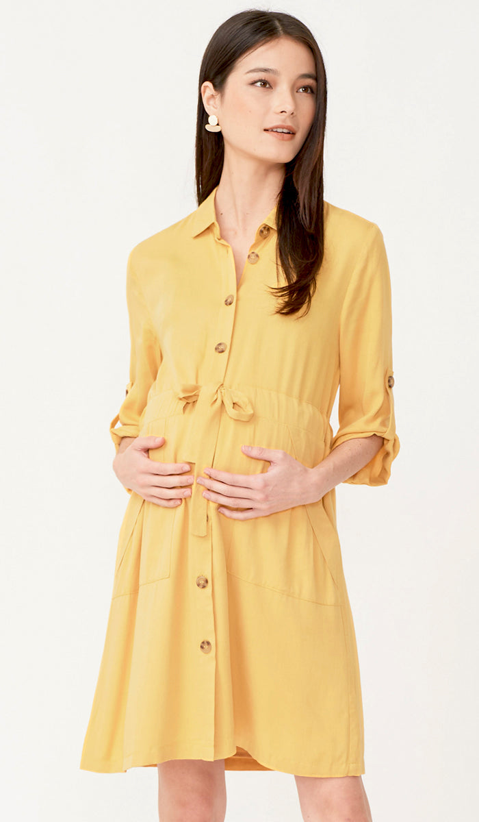 SALE - AMELIA NURSING SHIRT DRESS YELLOW