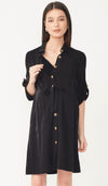 AMELIA NURSING SHIRT DRESS BLACK