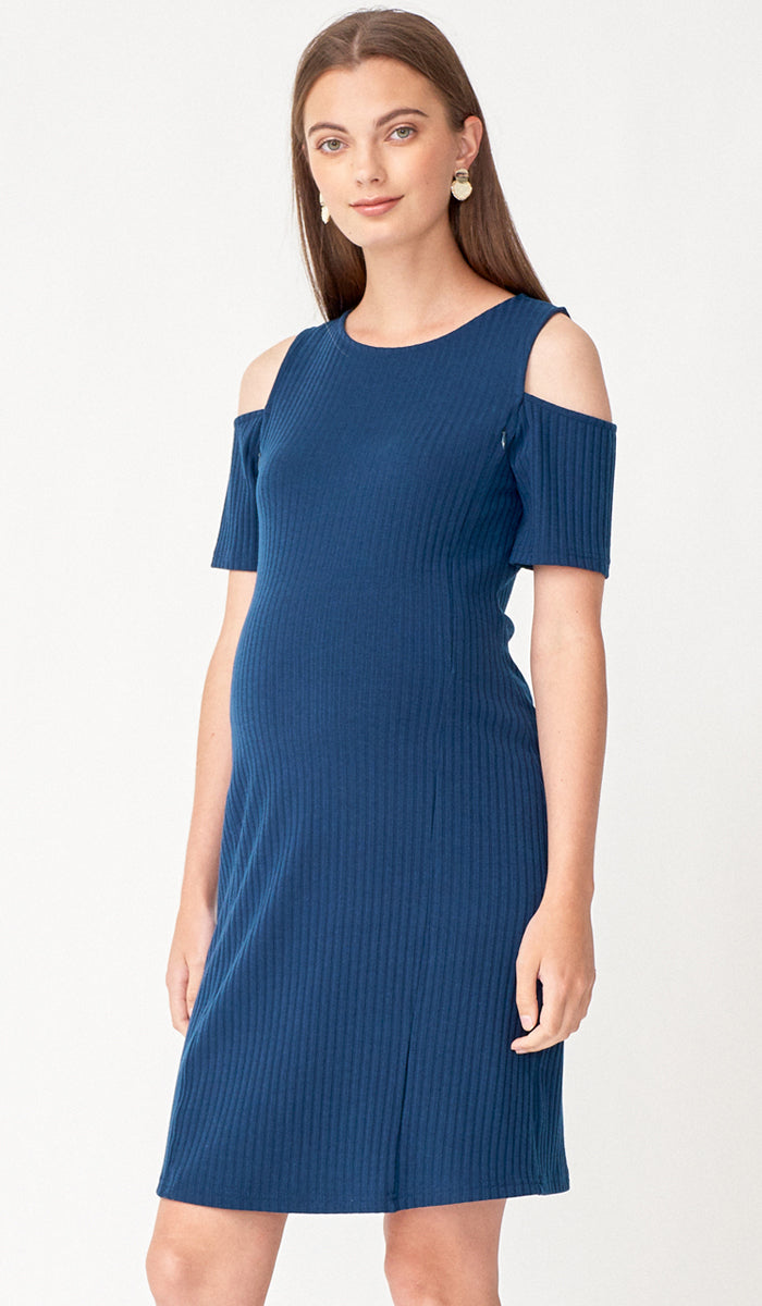 SALE - BREE CUTOUT SHOULDER NURSING DRESS BLUE