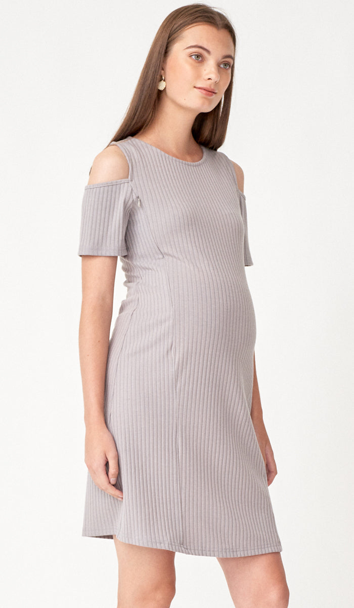 BREE CUTOUT SHOULDER NURSING DRESS GREY