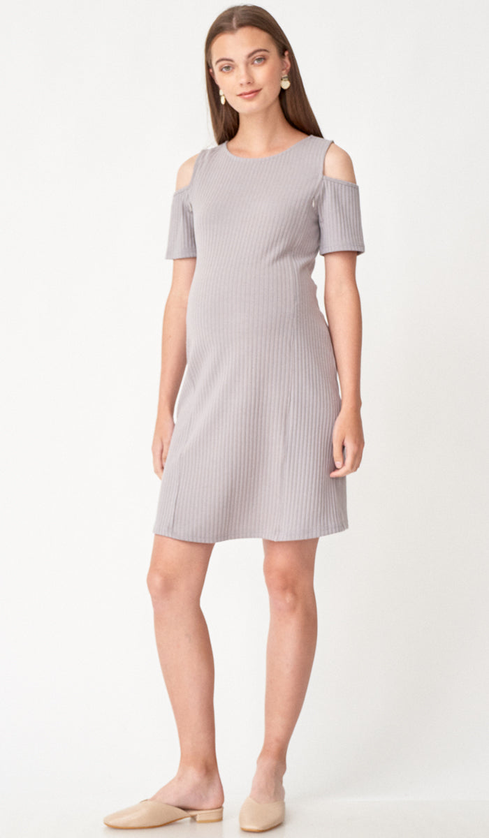 SALE - BREE CUTOUT SHOULDER NURSING DRESS GREY