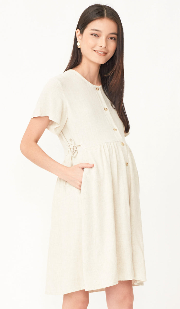DANA BUTTONDOWN NURSING DRESS KHAKI