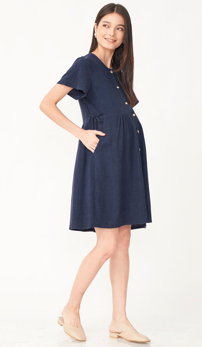 DANA BUTTONDOWN NURSING DRESS NAVY