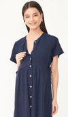 DANA BUTTONDOWN DRESS NAVY