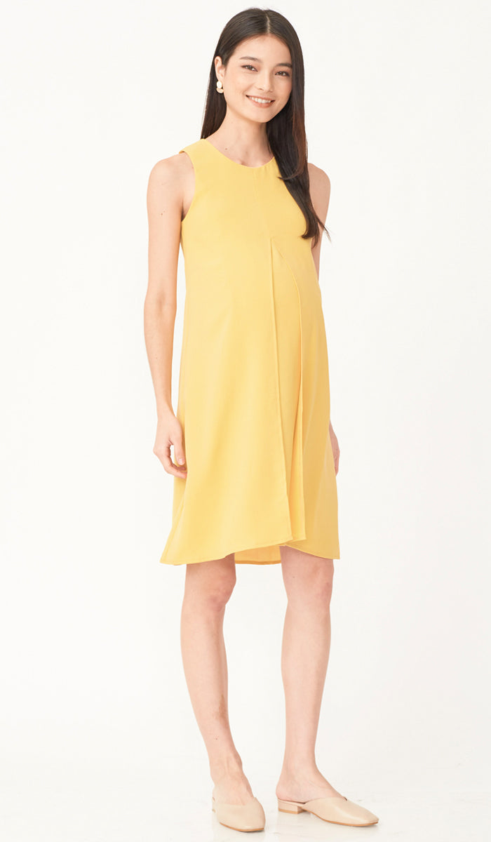 SALE - ELLA SPLIT HEM DRESS YELLOW