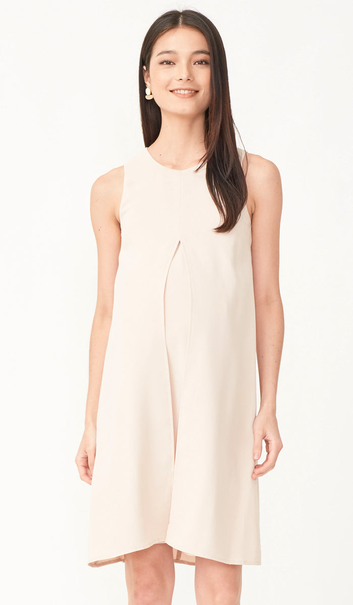 SALE - ELLA SPLIT HEM DRESS KHAKI