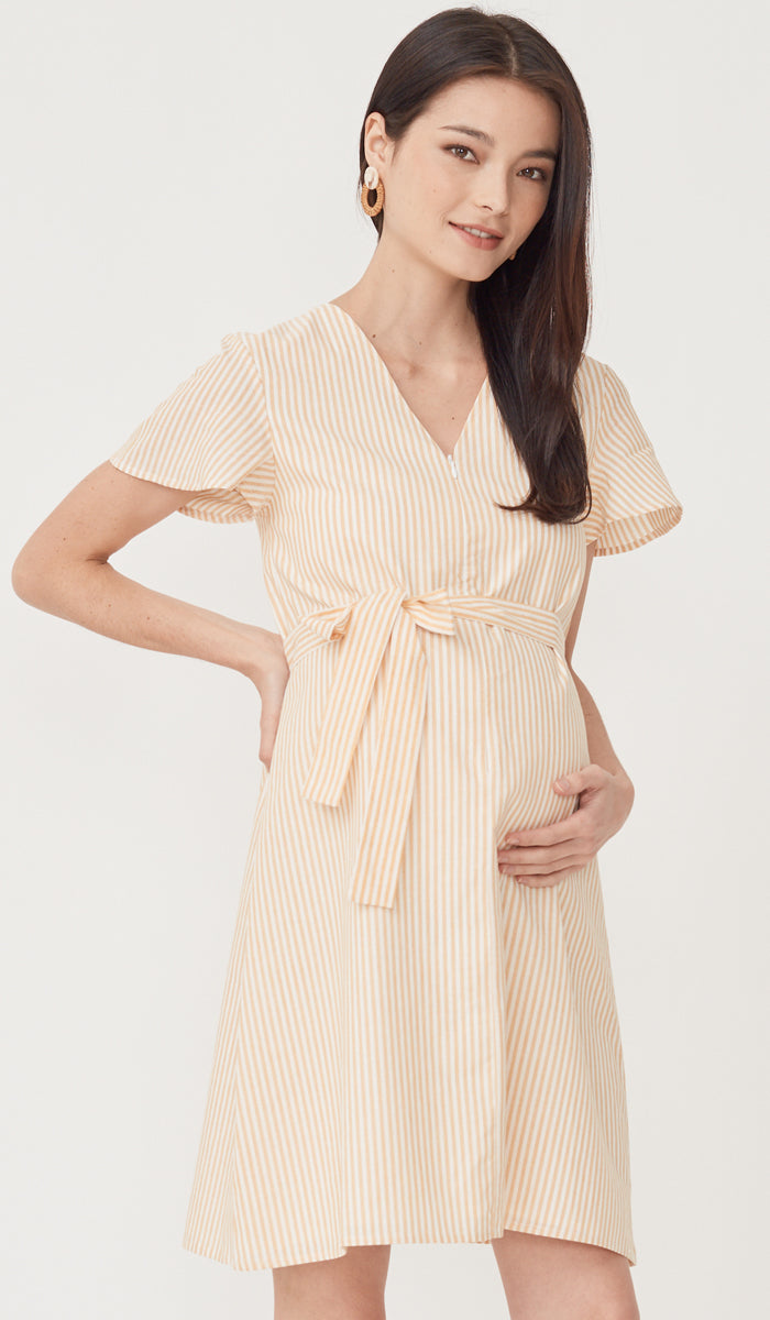 ELLERY STRIPED NURSING DRESS YELLOW