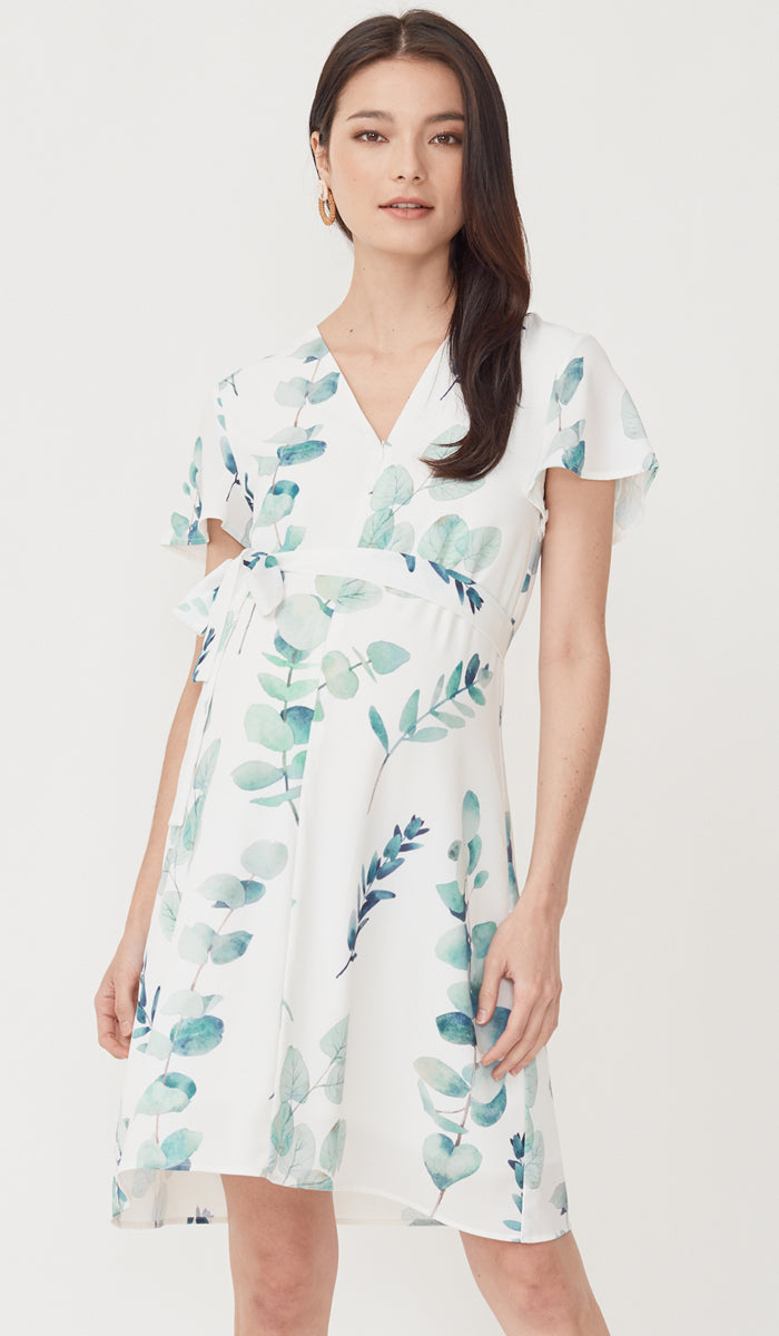 FOLIAGE ZIP FRONT NURSING DRESS