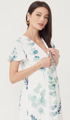 FOLIAGE FRONT ZIP NURSING DRESS