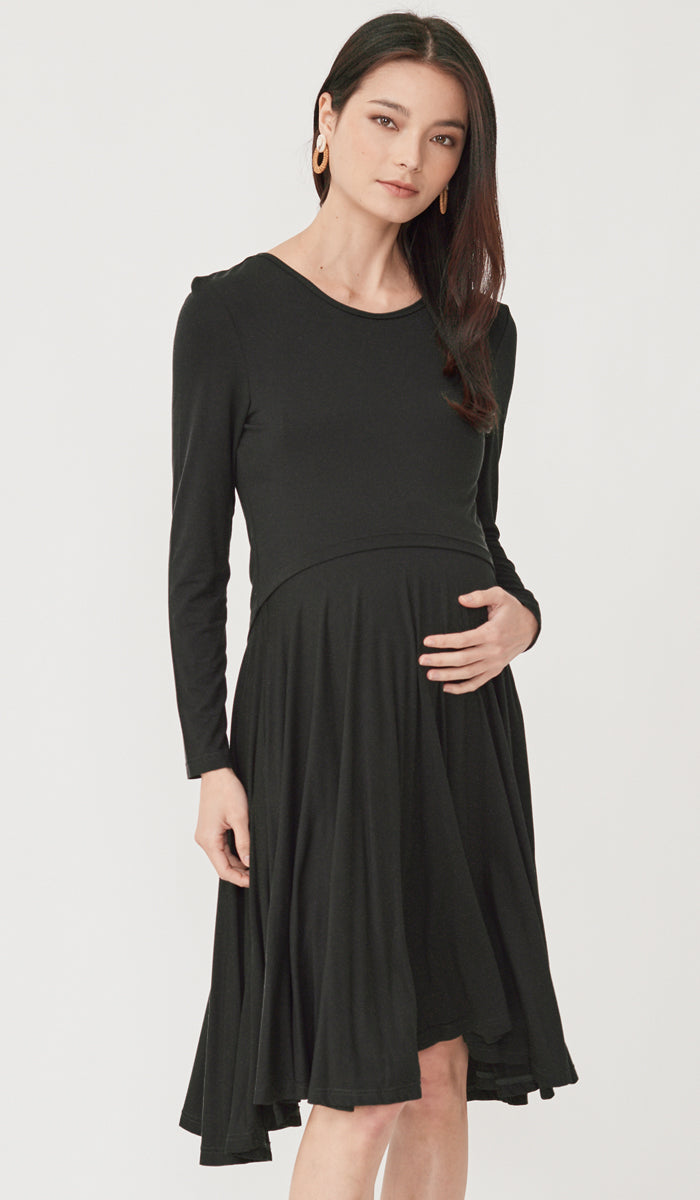 SALE - JULIET SKATER NURSING DRESS OLIVE
