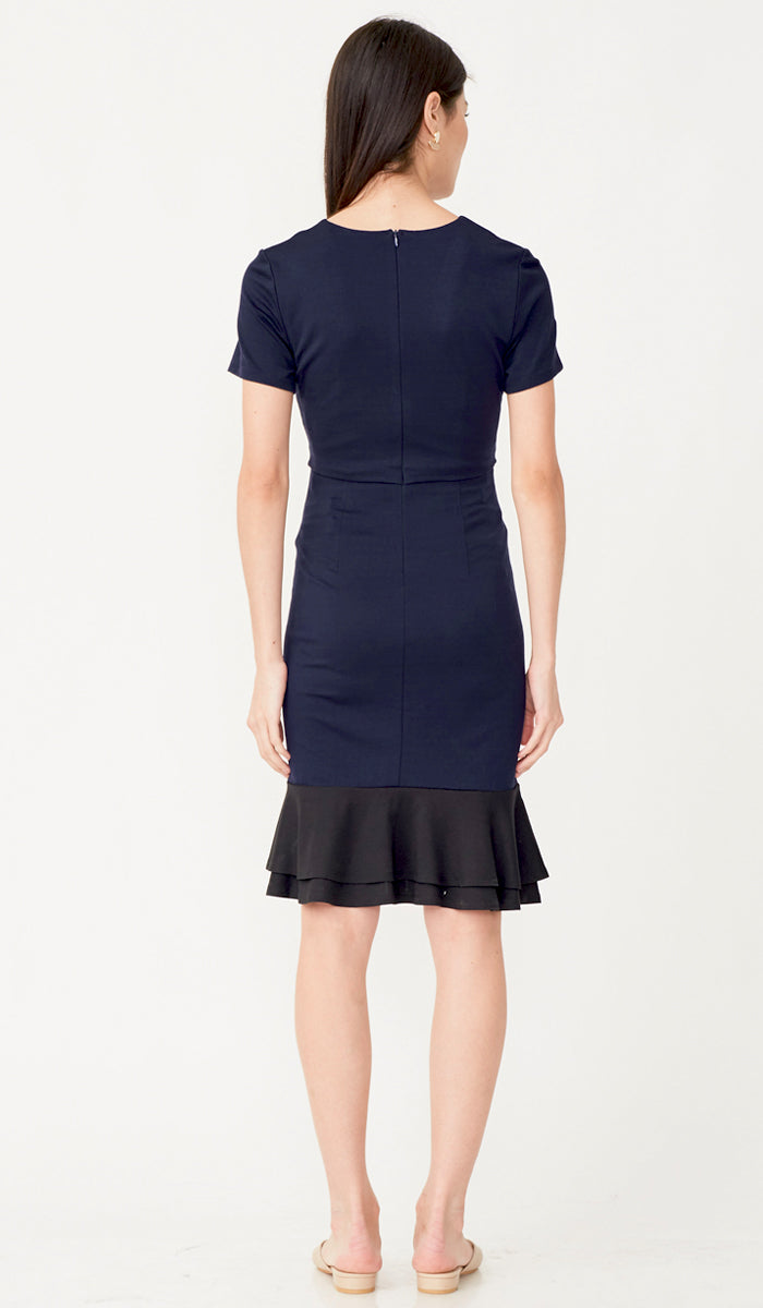KELLY COLORBLOCK FLOUNCE NURSING DRESS NAVY