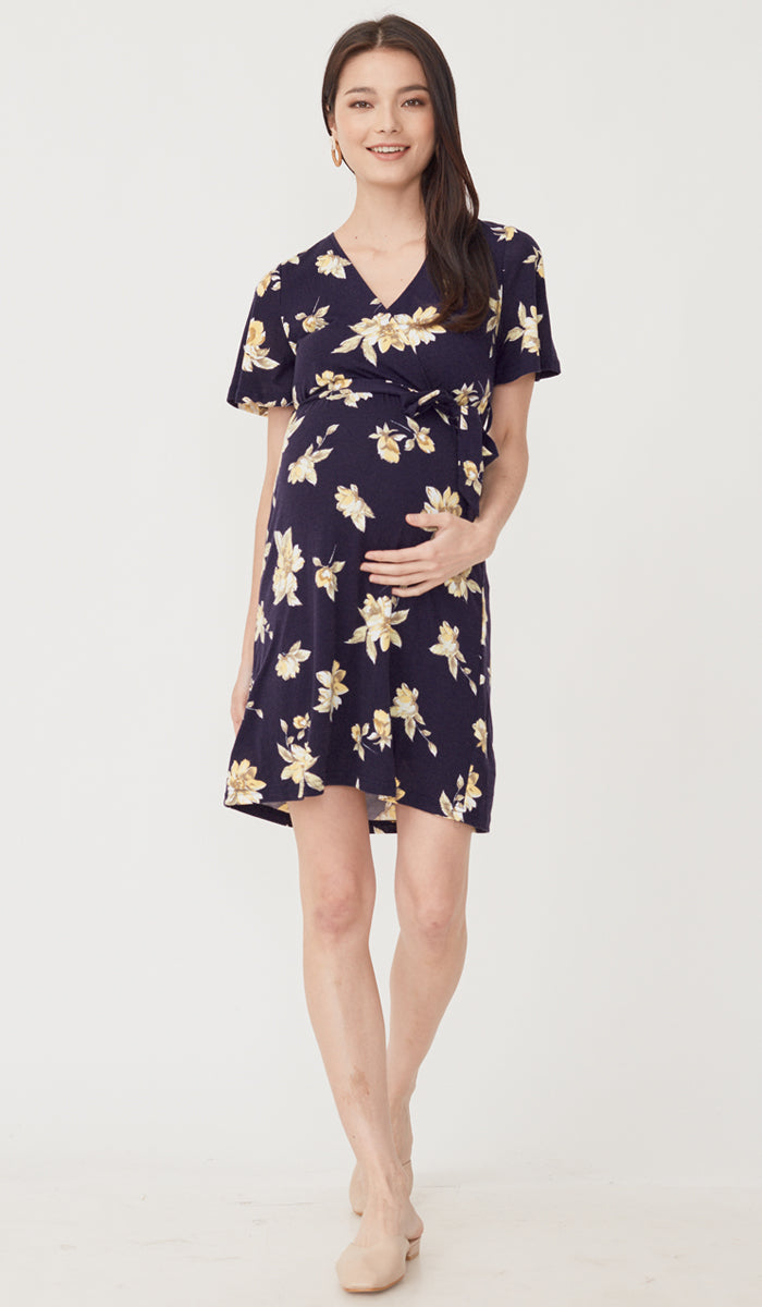 SALE - KYE FLORAL NURSING FAUX WRAP DRESS