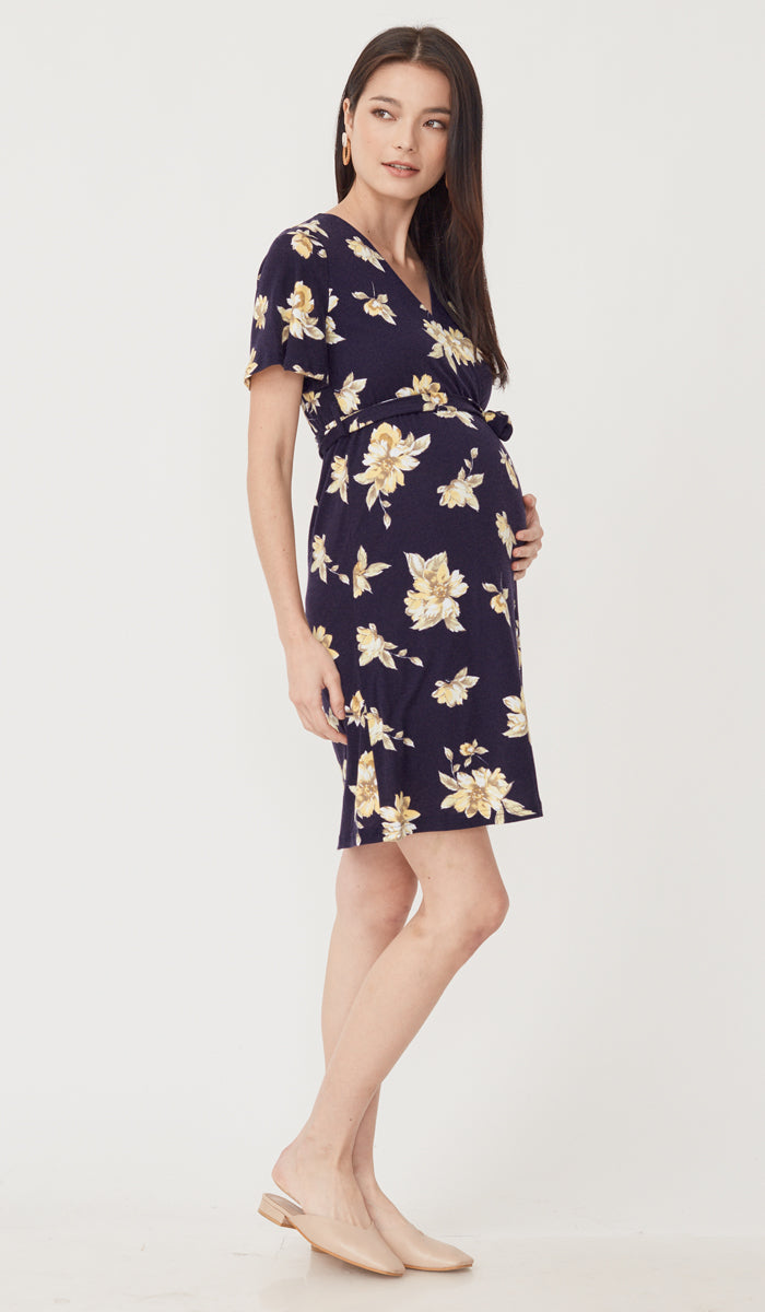 KYE FLORAL NURSING FAUX WRAP DRESS