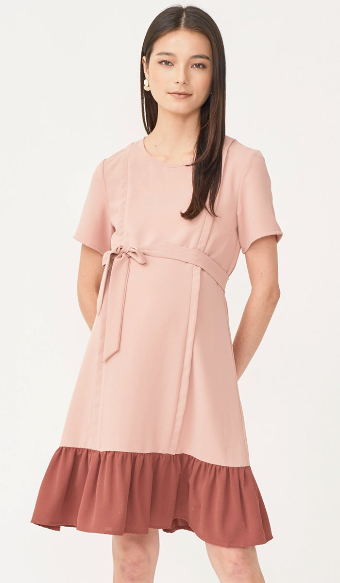 SALE - LAURIE COLORBLOCK NURSING DRESS PINK