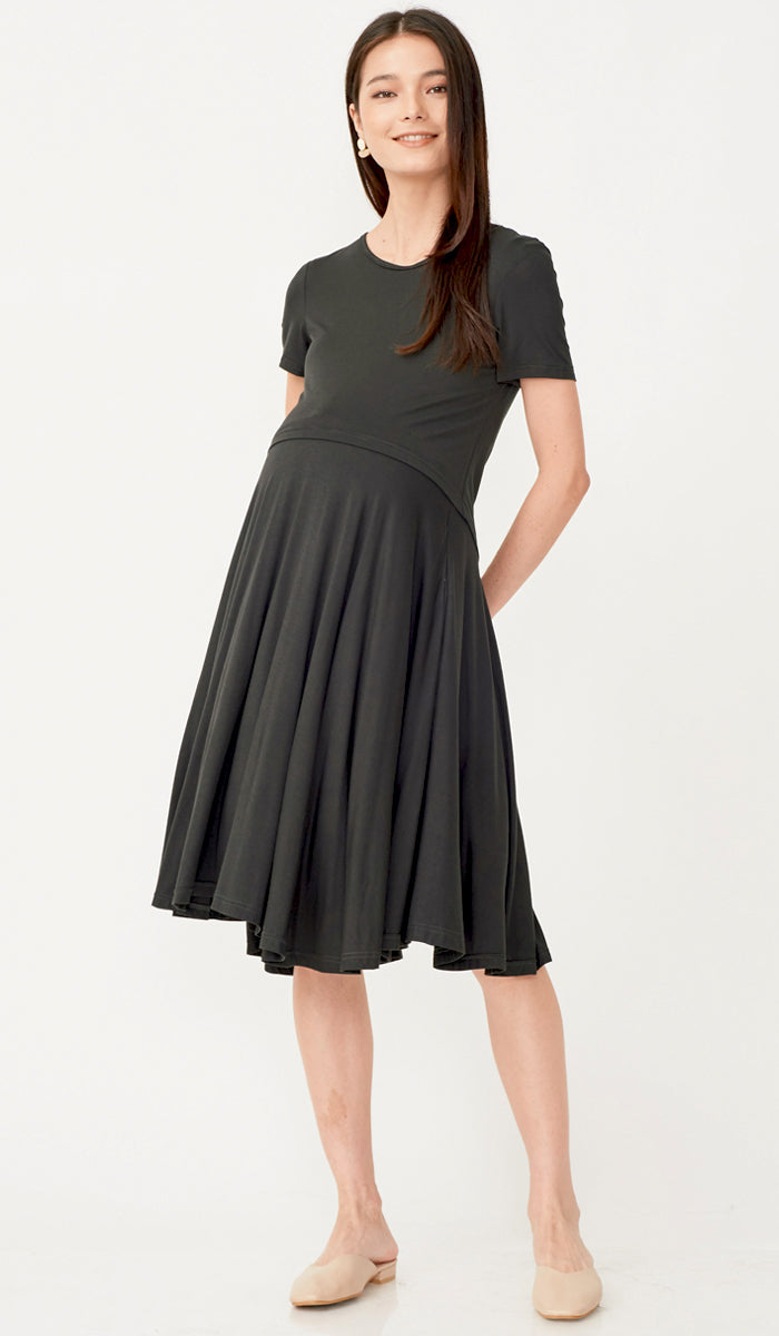 LINDA SKATER NURSING DRESS OLIVE