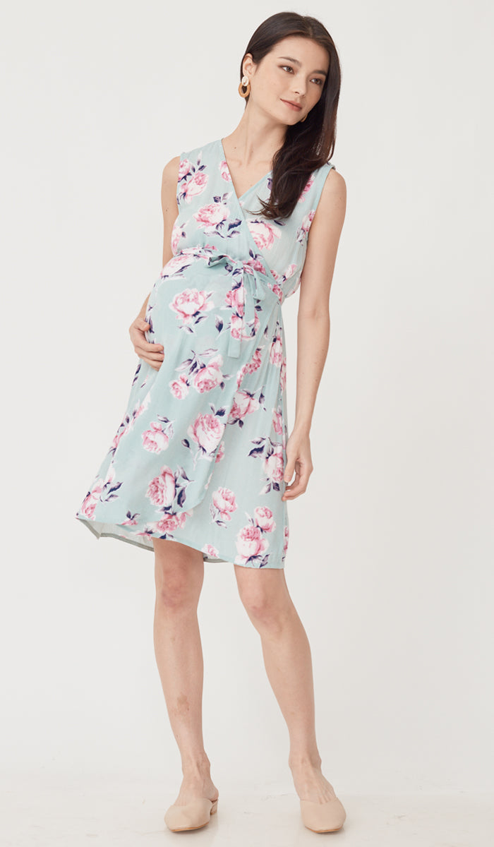 LUELLE FLORAL NURSING WRAP DRESS JADE