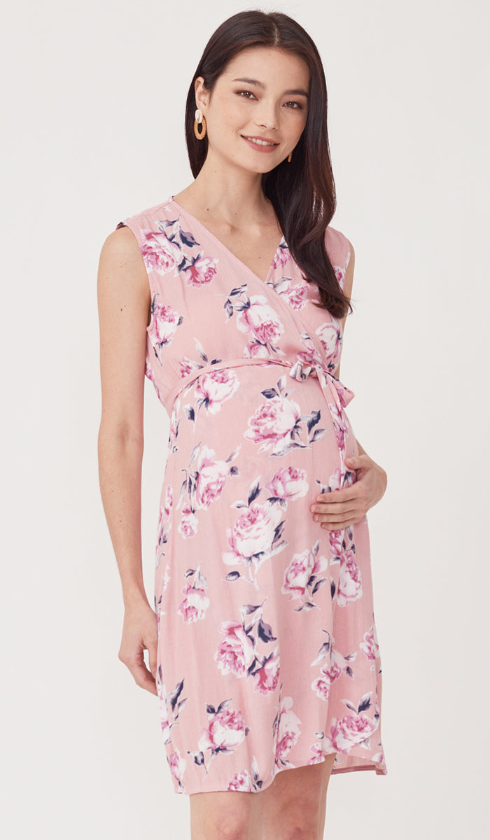 SALE - LUELLE FLORAL NURSING WRAP DRESS PINK