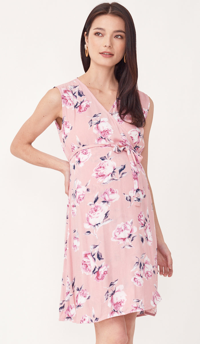 LUELLE FLORAL NURSING WRAP DRESS PINK