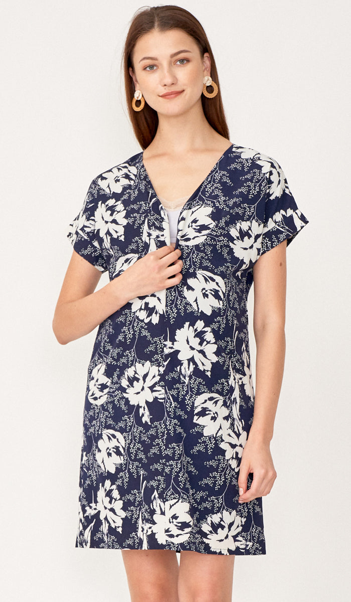 MIA ZIP FRONT NURSING DRESS NAVY
