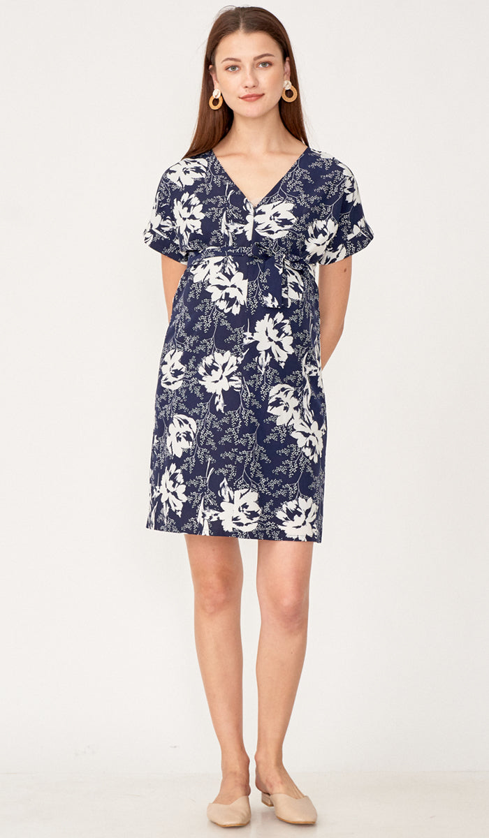 SALE - MIA ZIP FRONT NURSING DRESS NAVY