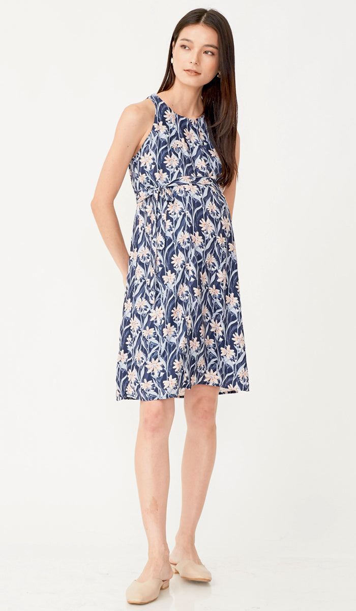 MIDNIGHT FLORALS DRESS NAVY W SASH