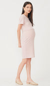 SALE - QUINN BODYCON RIBBED NURSING DRESS PINK