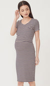SALE - REESE KNIT STRIPED BODYCON DRESS