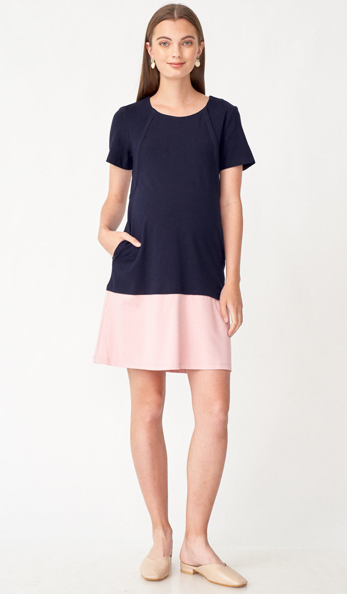 VELLA COLORBLOCK NURSING DRESS NAVY