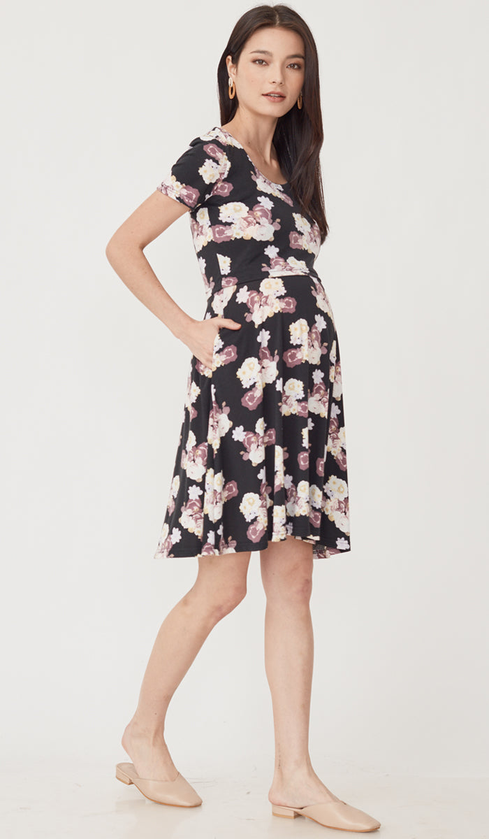 WINNIE FLORAL NURSING DRESS BLACK