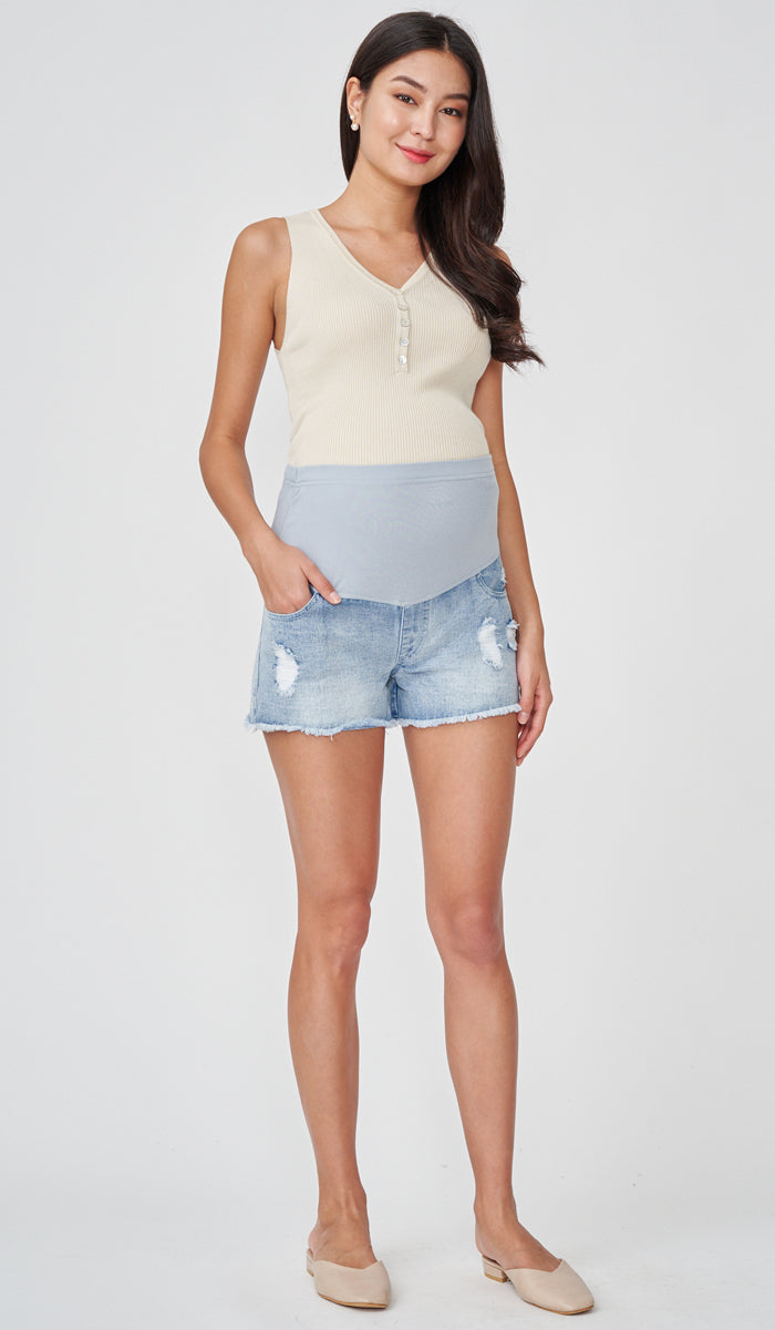 NADIA DENIM MATERNITY SHORTS BLUE