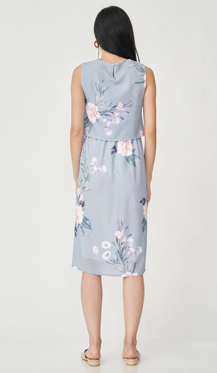 AKENO NURSING FLORAL DRESS GREY
