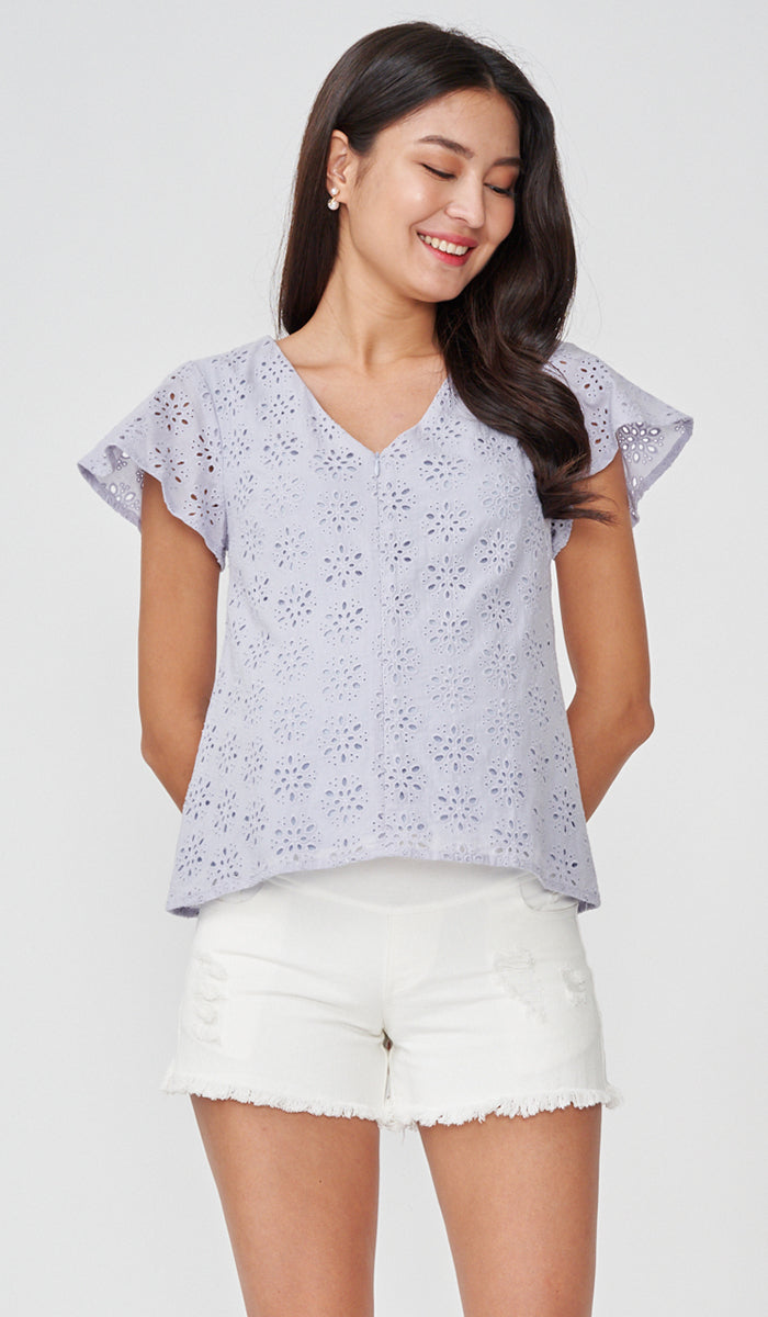 ANDES CROCHET NURSING TOP LILAC
